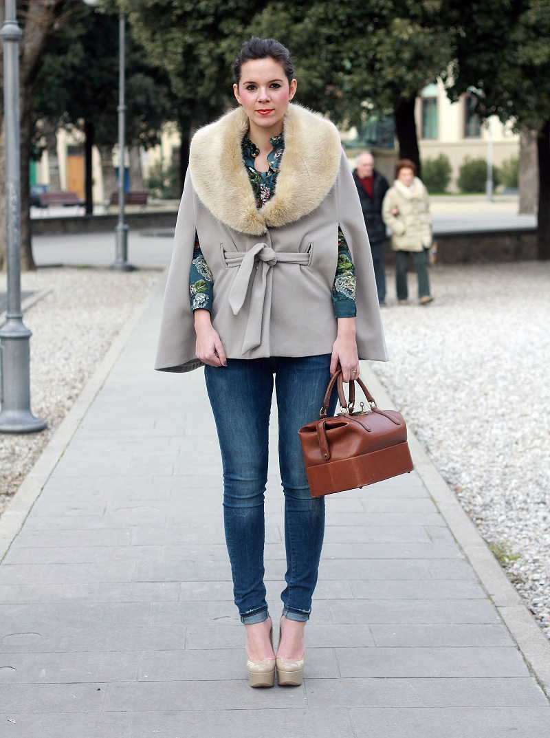 outfit del giorno outfit of the day fur cape flowers