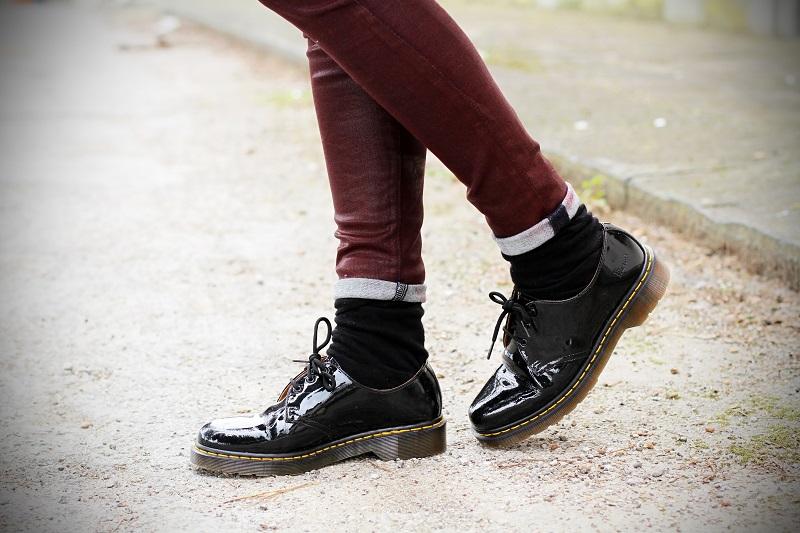 dr martens scarpe stringate vernice nera