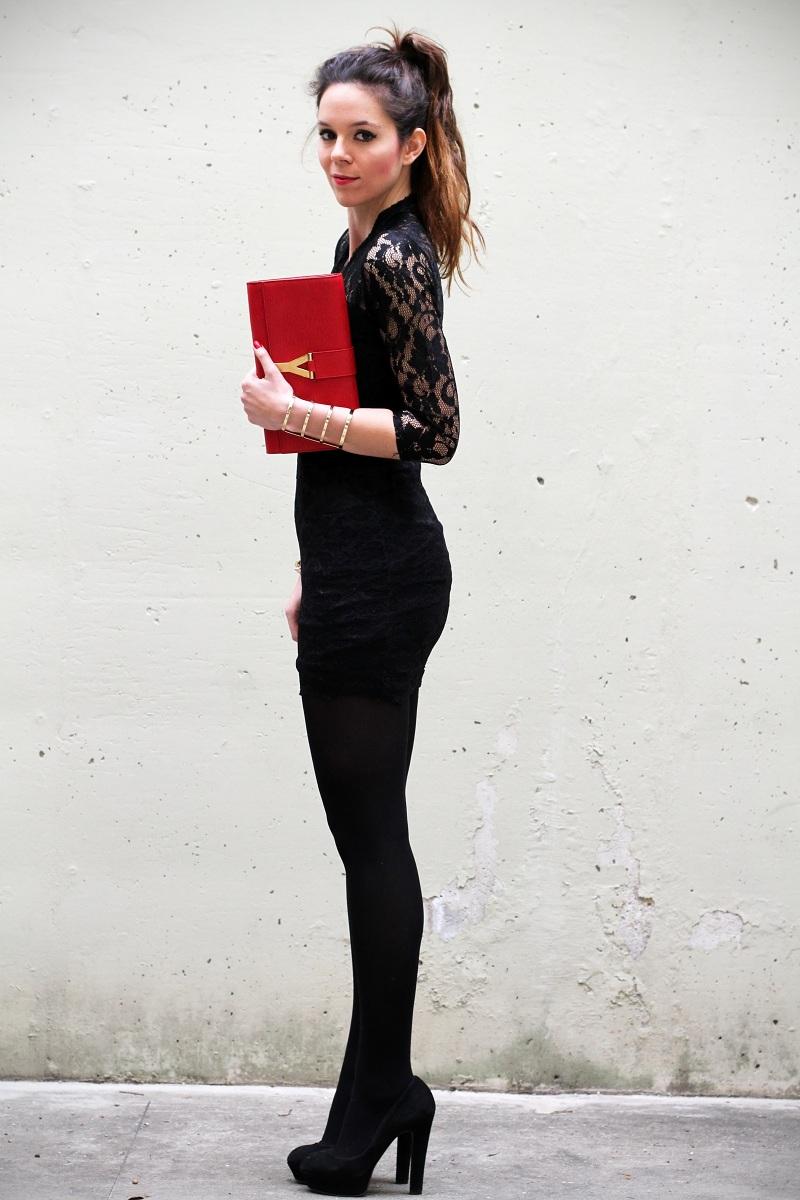 Preferenza Vestito di pizzo nero calze golden - Fashion touch italy BJ14