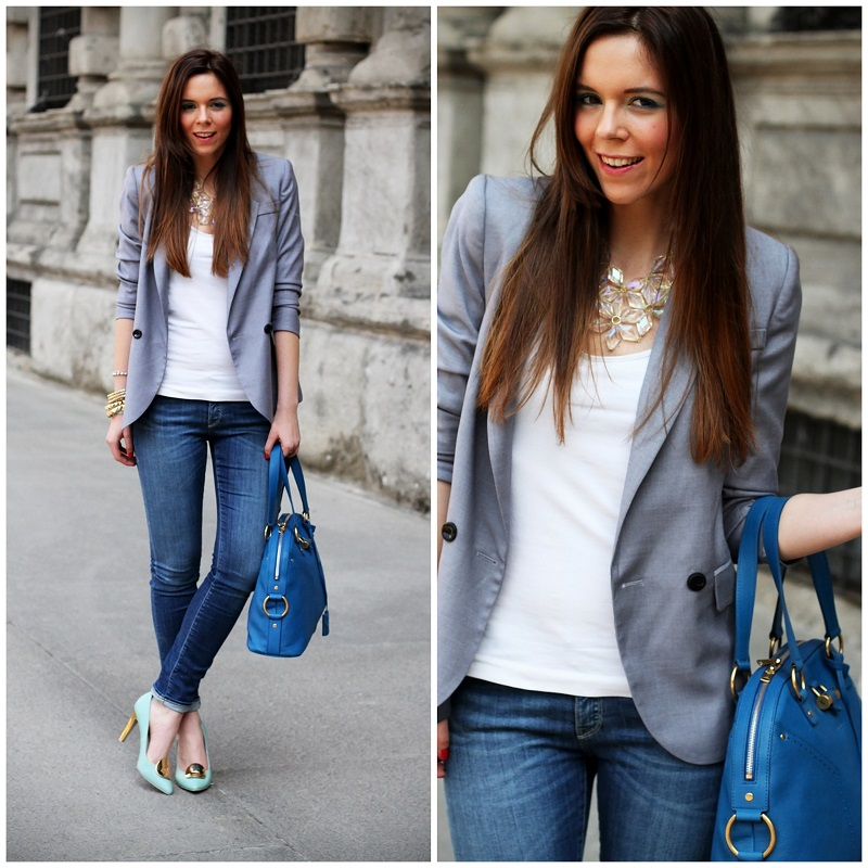 giorno a milano | outfit | look | streetstyle milano |  denim | jeans | blazer grigio | collana primark | giacca grigia | decollete geox | scarpe geox | decollete celesti | borsa ysl | borsa ysl muse | borsa ysl | borsa yves saint laurent | fashion blogger  3