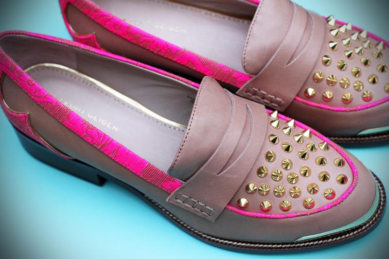 Kurt geiger | scarpe | mocassini | borchie | mocassini borchie | mocassini beige | mocassini fucsia | mocassini decorati
