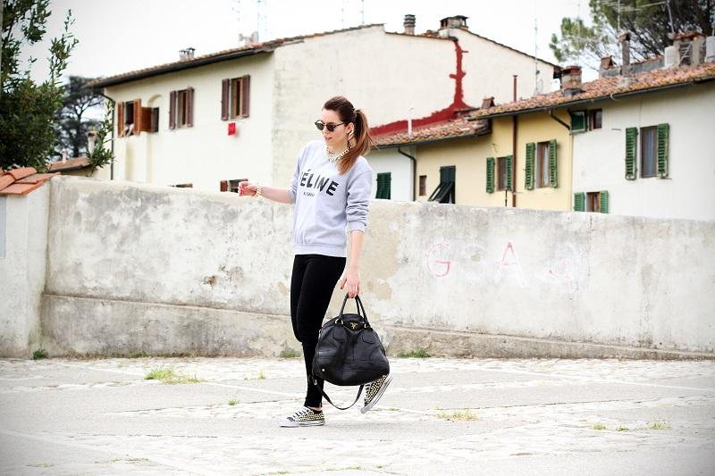 celine | feline | felpa cool | rayban | converse borchie | borsa prada | outfit | look | streetstyle | fashion blog | fashion blogger | irene colzi 4