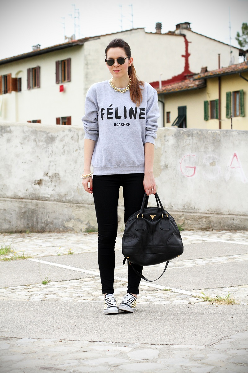celine | feline | felpa cool | rayban | converse borchie | borsa prada | outfit | look | streetstyle | fashion blog | fashion blogger | irene colzi 2