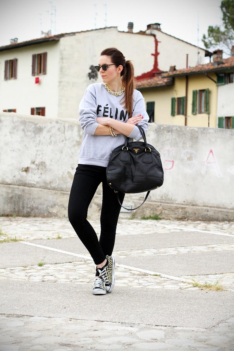 celine | feline | felpa cool | rayban | converse borchie | borsa prada | outfit | look | streetstyle | fashion blog | fashion blogger | irene colzi