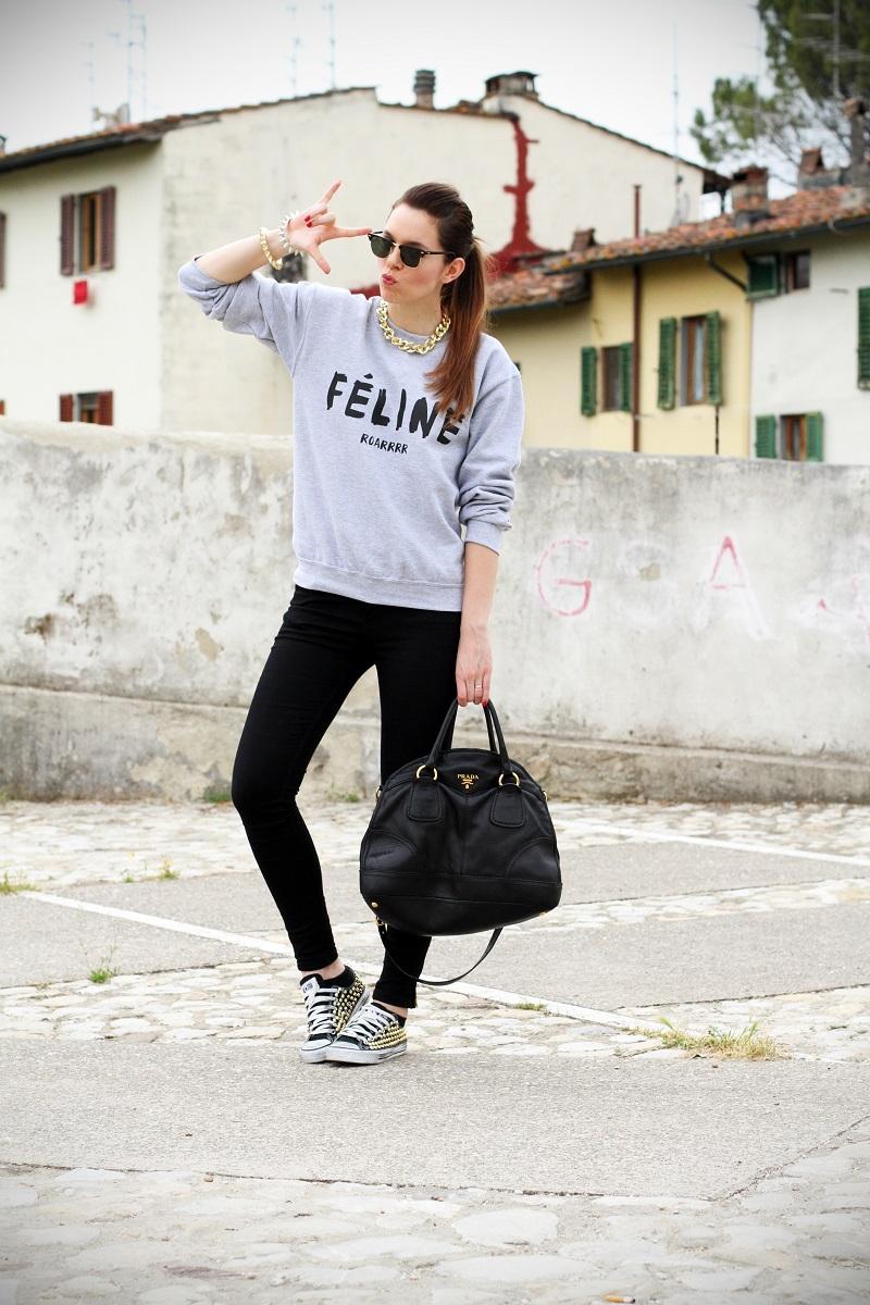 celine | feline | felpa cool | rayban | converse borchie | borsa prada | outfit | look | streetstyle | fashion blog | fashion blogger | irene colzi 1