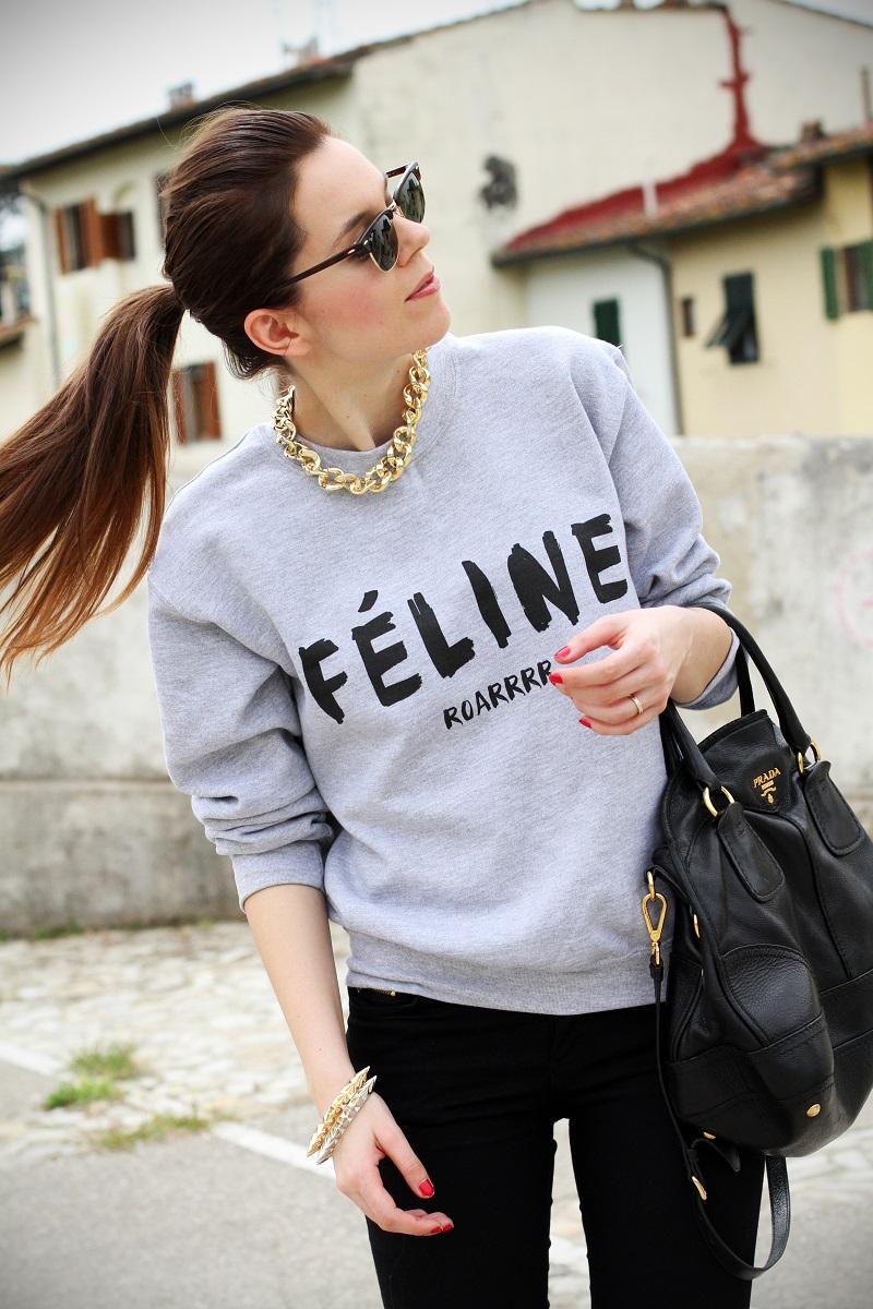 cosa alta   colore capelli   celine   feline   felpa cool   rayban   outfit   look   streetstyle   fashion blog   fashion blogger   irene colzi 1