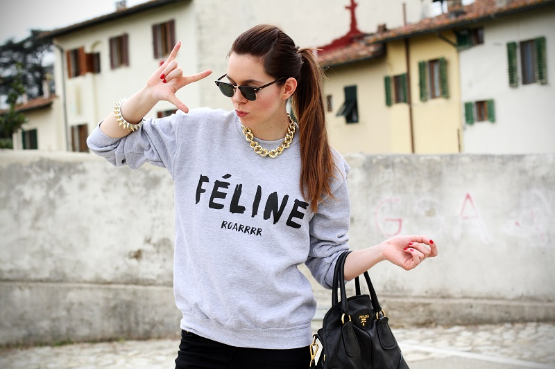 rock | celine | feline | felpa cool | rayban | outfit | look | streetstyle | fashion blog | fashion blogger | irene colzi