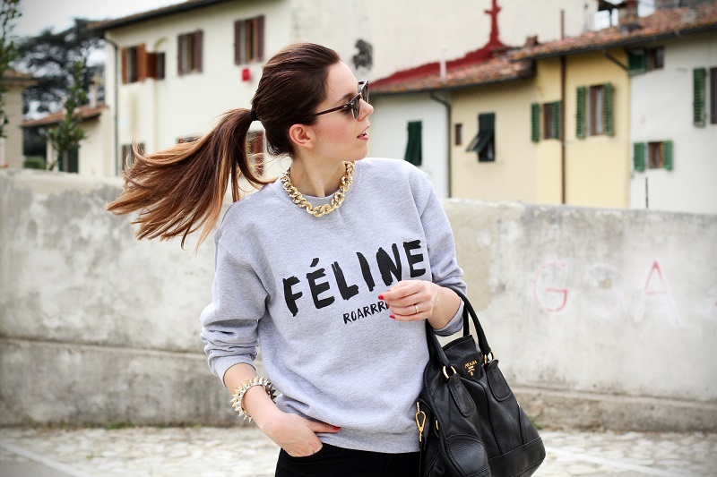 cosa alta | colore capelli | celine | feline | felpa cool | rayban | outfit | look | streetstyle | fashion blog | fashion blogger | irene colzi