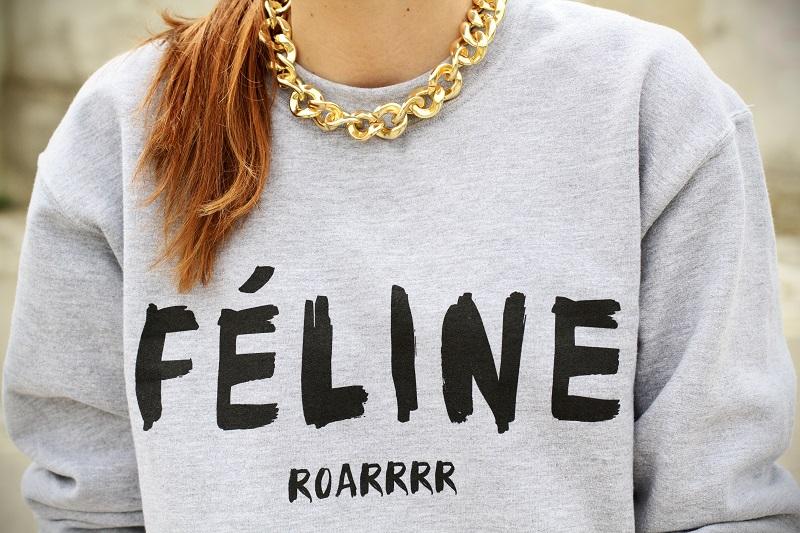 feline | celine | felpa divertente | scritta divertente | moda | fashion | catena oro | collana primark