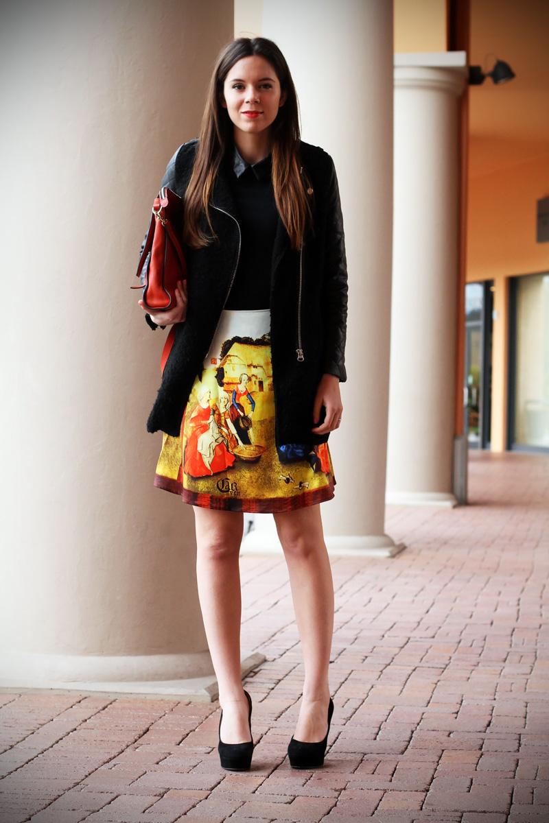 gonna a vita alta stampa dipinto quadro fashion blogger irene colzi irene closet borsa arancione coccinelle decollete tacco alto (1)
