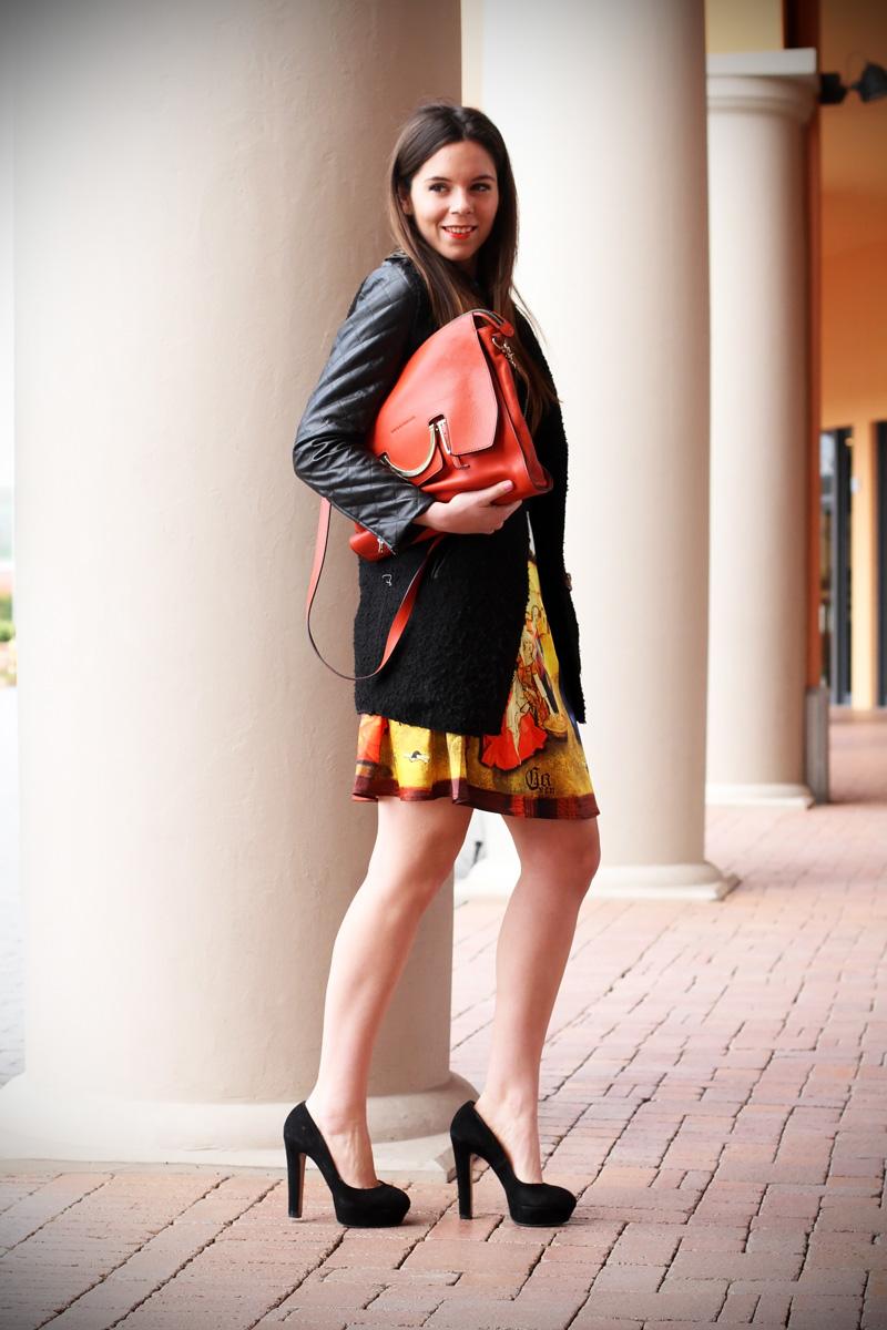 gonna a vita alta stampa dipinto quadro fashion blogger irene colzi irene closet borsa arancione coccinelle decollete tacco alto (5)