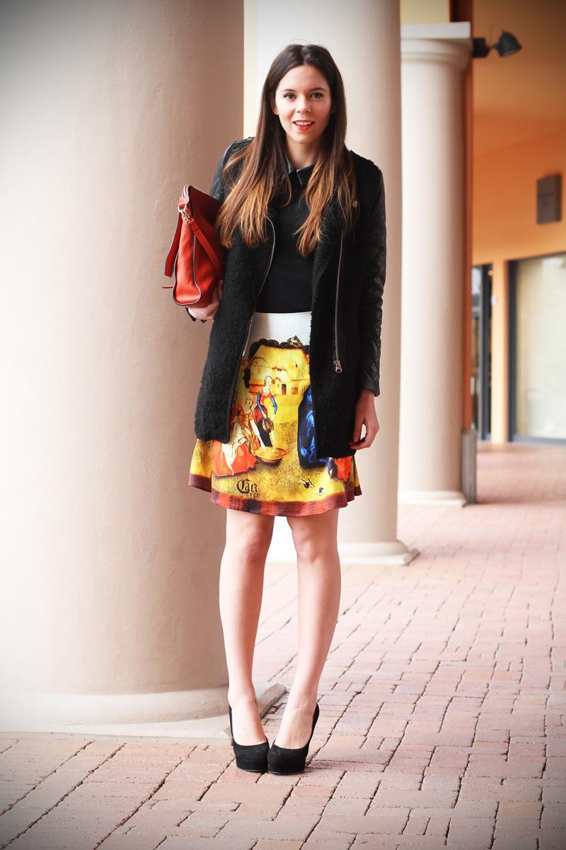 gonna a vita alta stampa dipinto quadro fashion blogger irene colzi irene closet borsa arancione coccinelle decollete tacco alto (9)
