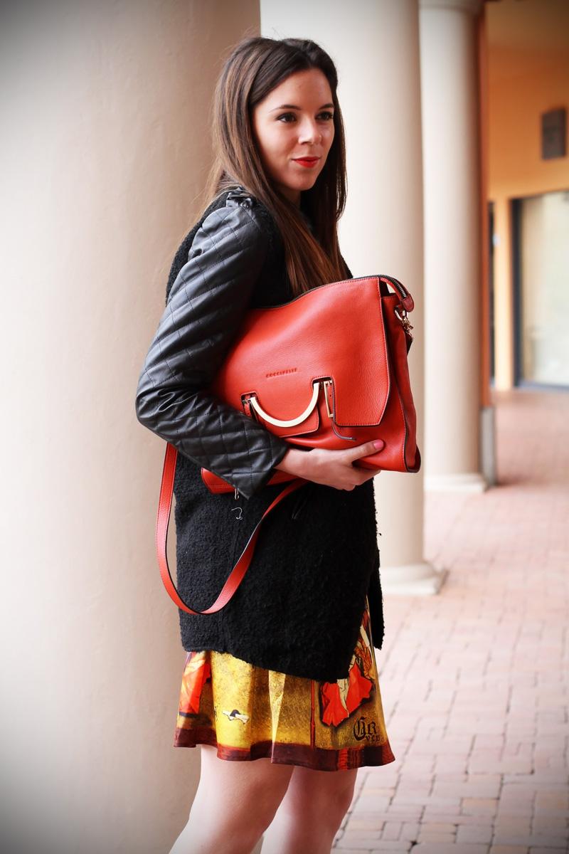 gonna a vita alta stampa dipinto quadro fashion blogger irene colzi irene closet borsa arancione coccinelle decollete tacco alto (7)