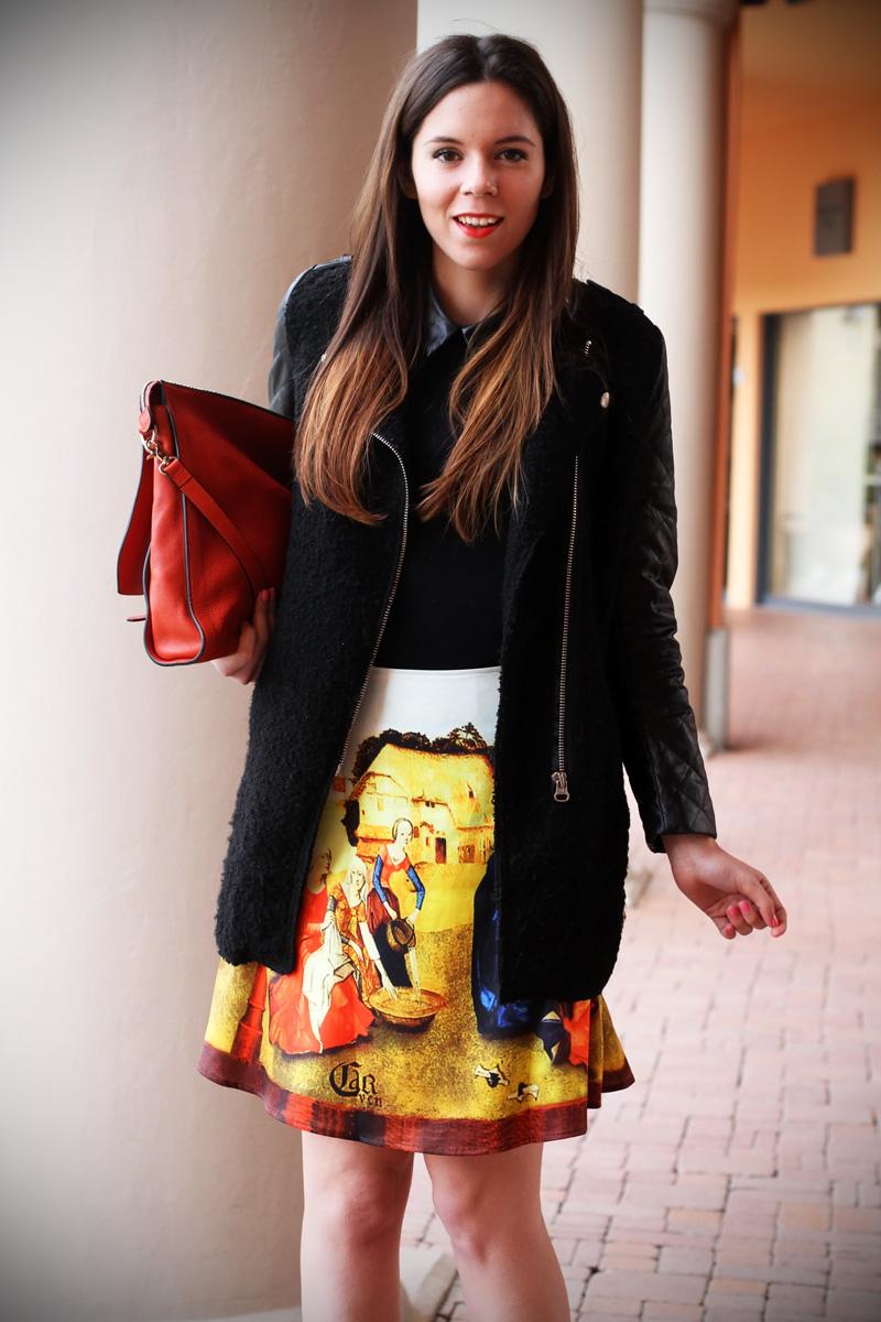 gonna a vita alta stampa dipinto quadro fashion blogger irene colzi irene closet borsa arancione coccinelle decollete tacco alto (4)