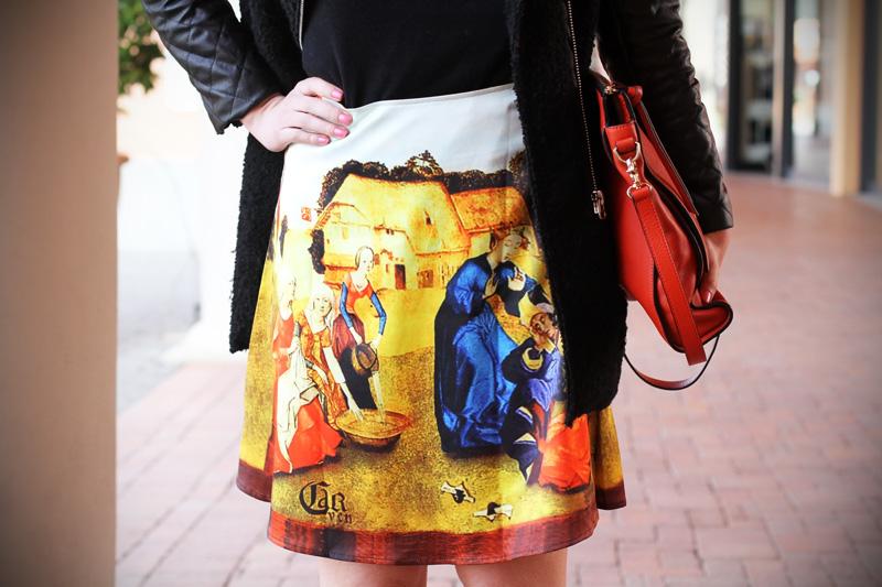 gonna a vita alta stampa dipinto quadro fashion blogger irene colzi irene closet borsa arancione coccinelle decollete tacco alto (3)