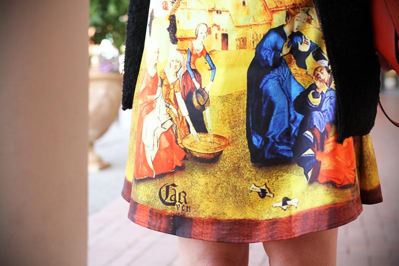 gonna a vita alta stampa dipinto quadro fashion blogger irene colzi irene closet borsa arancione coccinelle decollete tacco alto (8)