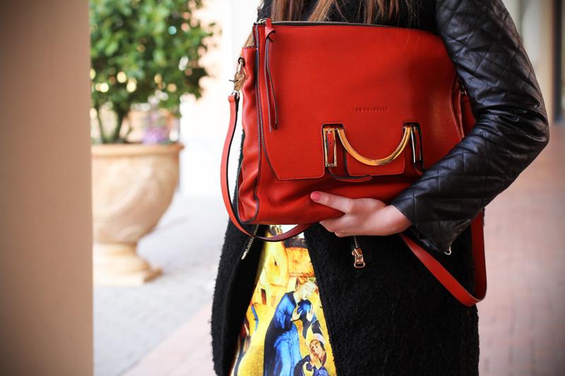 gonna a vita alta stampa dipinto quadro fashion blogger irene colzi irene closet borsa arancione coccinelle decollete tacco alto (6)