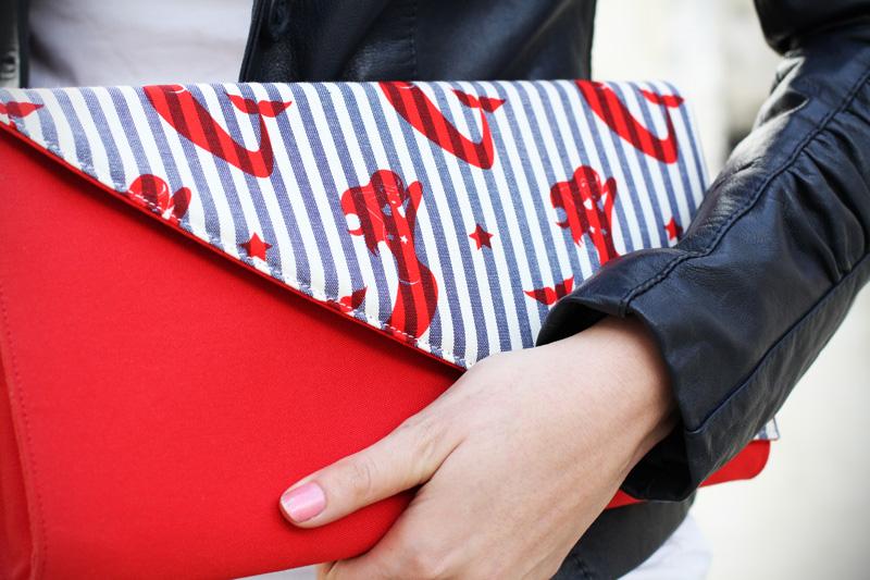 marakita | pochette righe | pochette rossa | borsa rossa | borsa mare