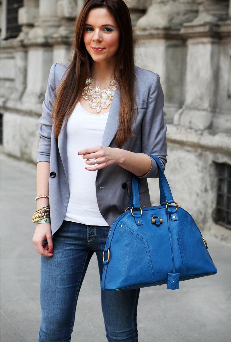 collana trasparente | collana importante | accessori primark | trucco blu | trucco celeste | trucco naturale | trucco dior | blazer grigio | mezzo busto | fashion blogger | look | outfit