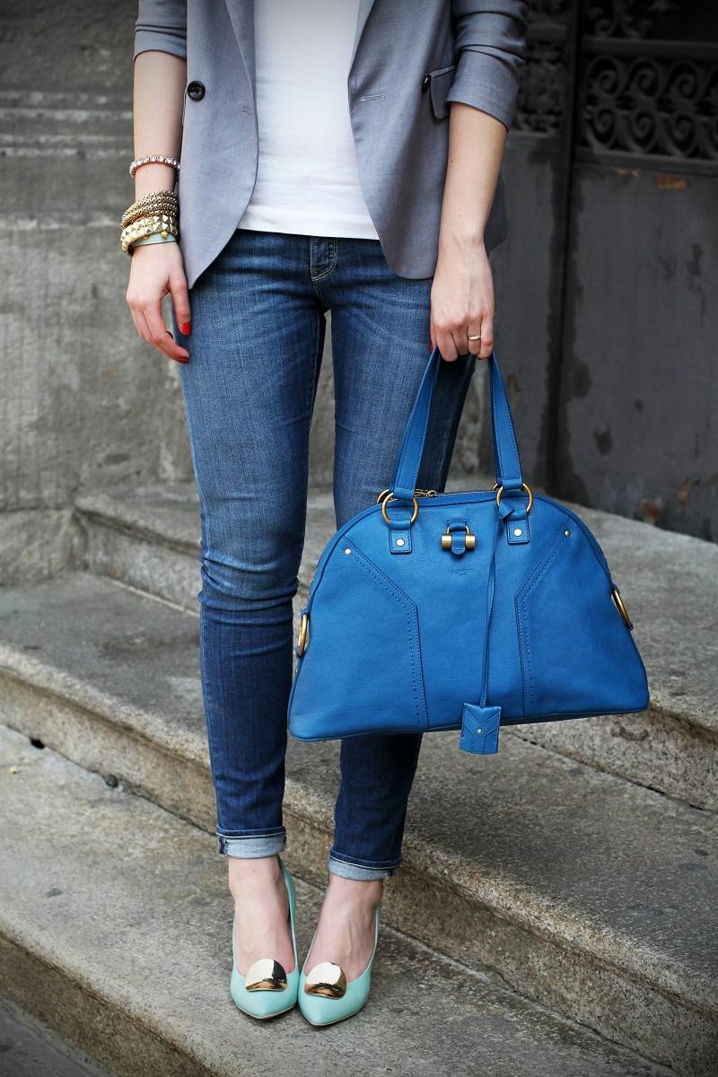 denim | jeans | jeans skinny | skinny jeans | blazer grigio | decollete celesti | decollete