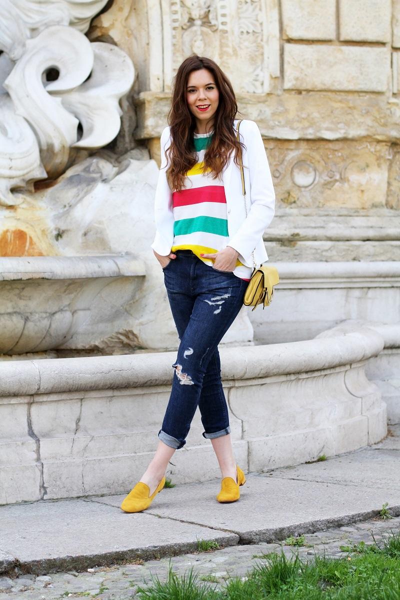 pantofole | slippers | zara | hm | outfit | look | fashion blogger | righe | maglia righe | tee righe | giacca bianca | blazer bianco | jeans strappati | jeans alla caviglia | fashion blogger | fashion blog | fashion blogger italia | borsa coccinelle | coccinelle | uno8uno | 181 | 2