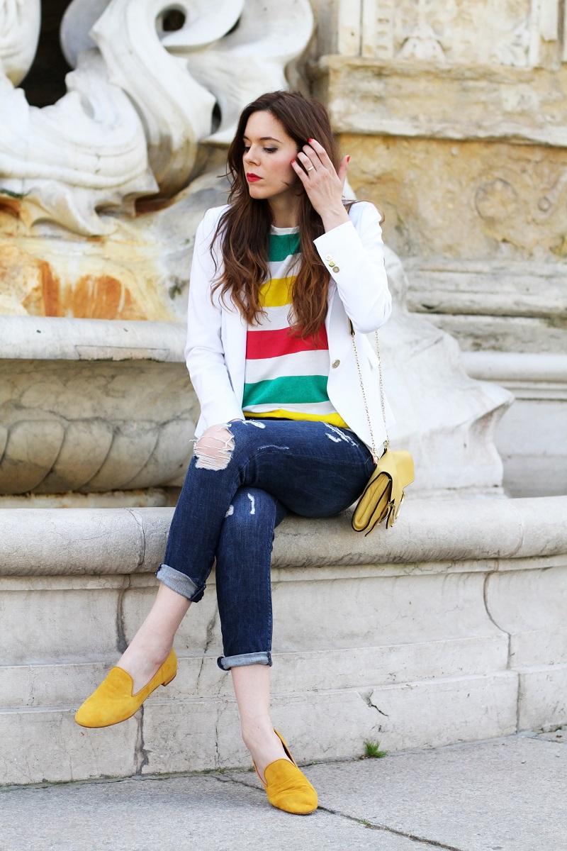 pantofole | slippers | zara | hm | outfit | look | fashion blogger | righe | maglia righe | tee righe | giacca bianca | blazer bianco | jeans strappati | jeans alla caviglia | fashion blogger | fashion blog | fashion blogger italia | borsa coccinelle | coccinelle | uno8uno | 181 | 1