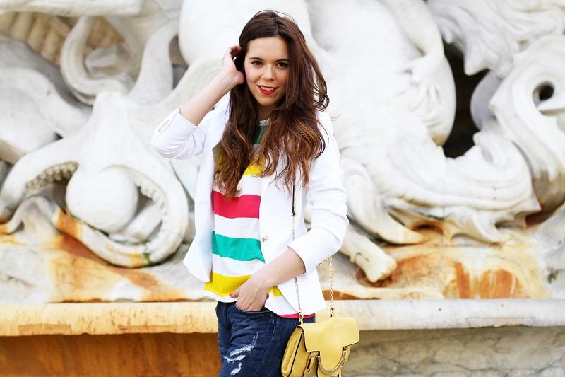 zara | hm | outfit | look | fashion blogger | righe | maglia righe | tee righe | giacca bianca | blazer bianco | jeans strappati | jeans alla caviglia | fashion blogger | fashion blog | fashion blogger italia | borsa coccinelle | coccinelle  2