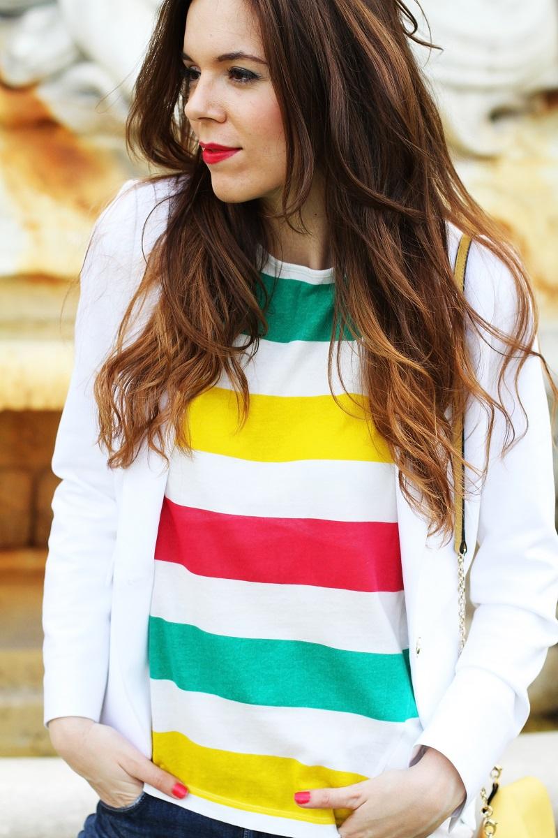 zara   hm   outfit   look   fashion blogger   righe   maglia righe   tee righe   giacca bianca   blazer bianco   jeans strappati   jeans alla caviglia   fashion blogger   fashion blog   fashion blogger italia   borsa coccinelle   coccinelle