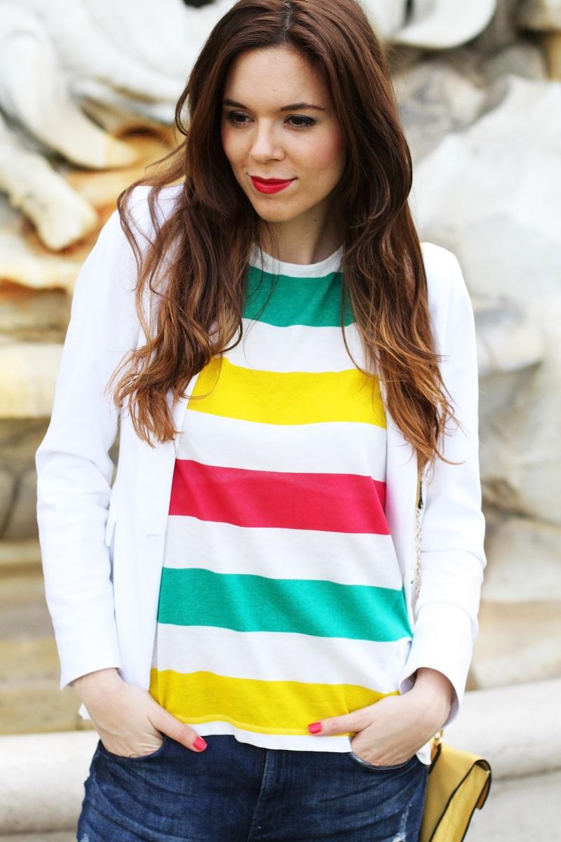 zara | hm | outfit | look | fashion blogger | righe | maglia righe | tee righe | giacca bianca | blazer bianco | jeans strappati | jeans alla caviglia | fashion blogger | fashion blog | fashion blogger italia | borsa coccinelle | coccinelle  1