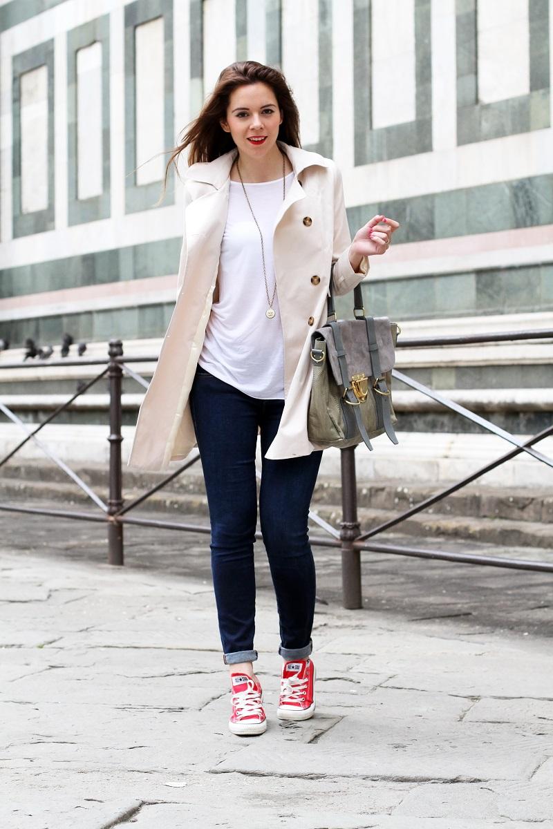converse rosse | trench | su-shi bag | borsa su-shi | borsa grande grigia | rossetto rosso | jeans fornarina | denim | jeans | fashion | fashion blogger | moda | firenze | outfit | look | idee look | look casual 2
