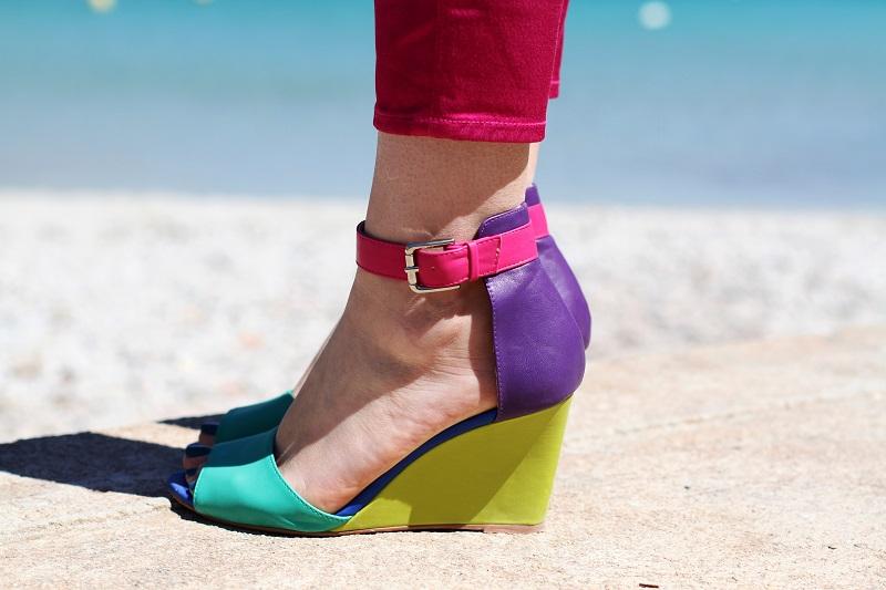 zeppe colorate | scarpe colorate | pantaloni fucsia