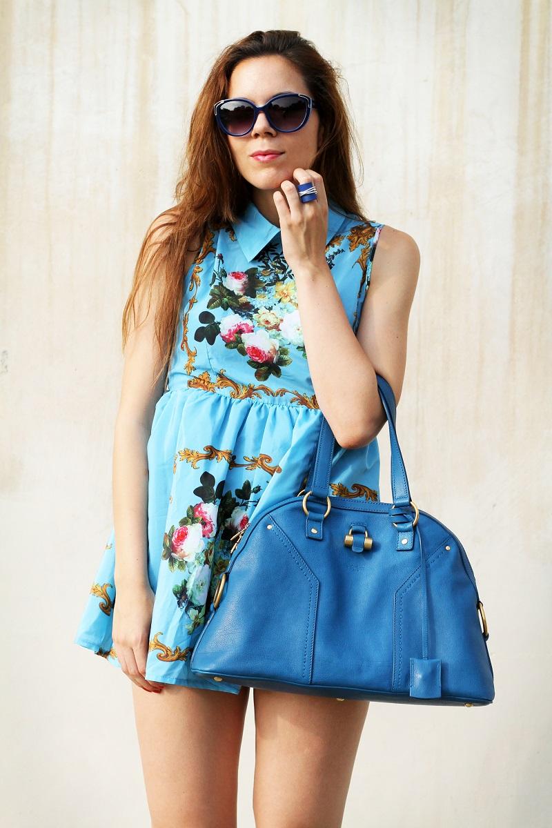 idee outfit | vestito celeste | occhiali da sole moda | borsa ysl | fashion blogger | fashion | moda | streetstyle | look | outfit 1