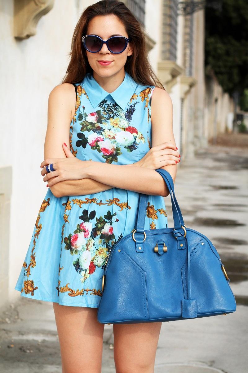 idee outfit | vestito celeste | occhiali da sole moda | borsa ysl | fashion blogger | fashion | moda | streetstyle | look | outfit