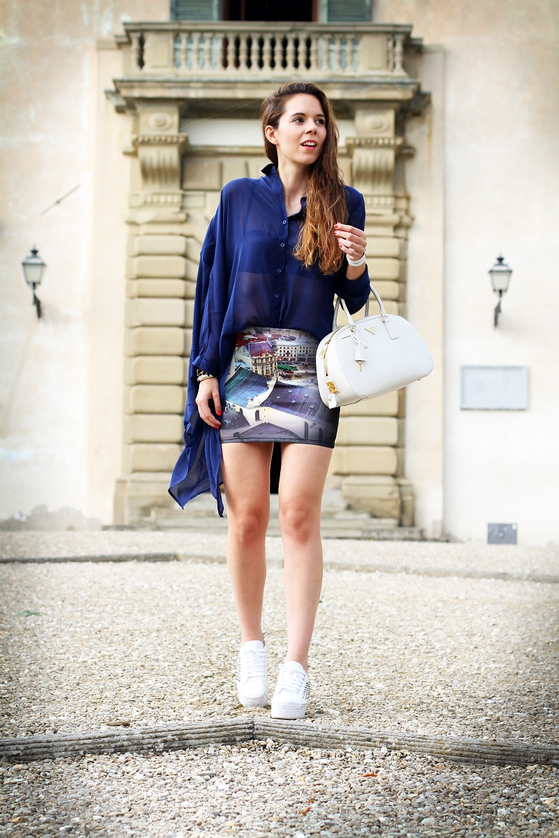 look casual | moda | fashion blogger | outfit | look | irene colzi | gonna stampa | jeffrey campbell | bracciale il mezzometro