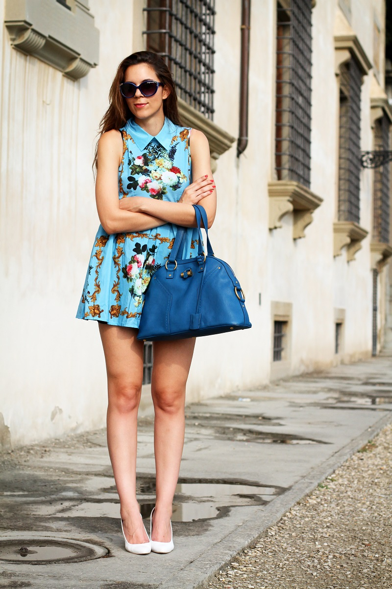 idee outfit | vestito celeste | zeppe bianche | borsa ysl | fashion blogger | fashion | moda | streetstyle | look | outfit 1