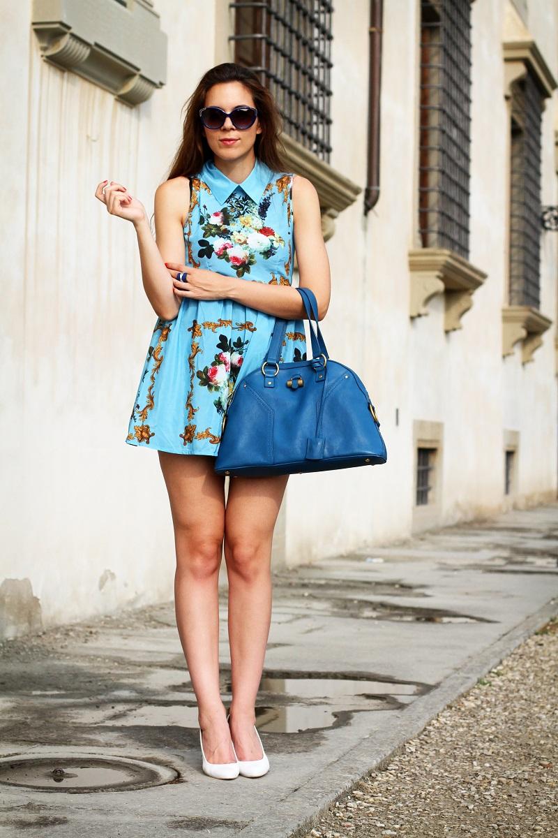 idee outfit | vestito celeste | zeppe bianche | borsa ysl | fashion blogger | fashion | moda | streetstyle | look | outfit 2