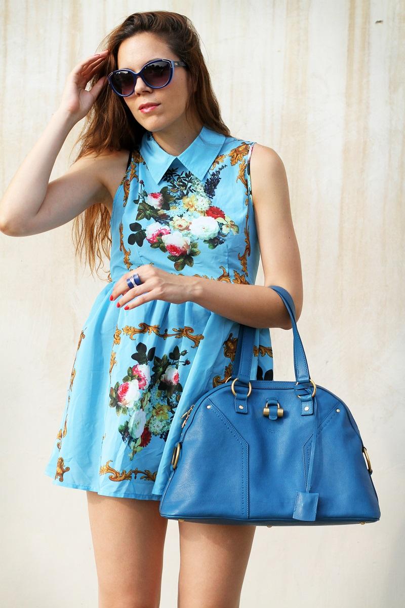 idee outfit | vestito celeste | occhiali da sole moda | borsa ysl | fashion blogger | fashion | moda | streetstyle | look | outfit 3