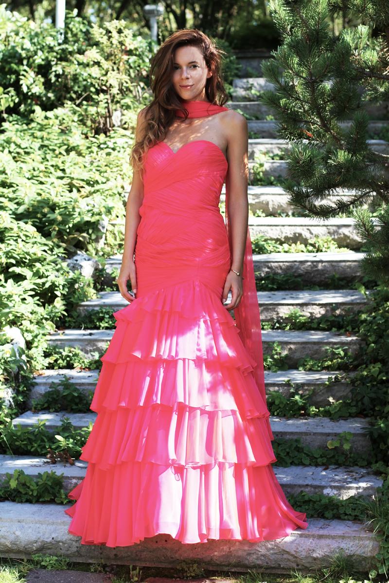 vestito elegante cerimonia rosa