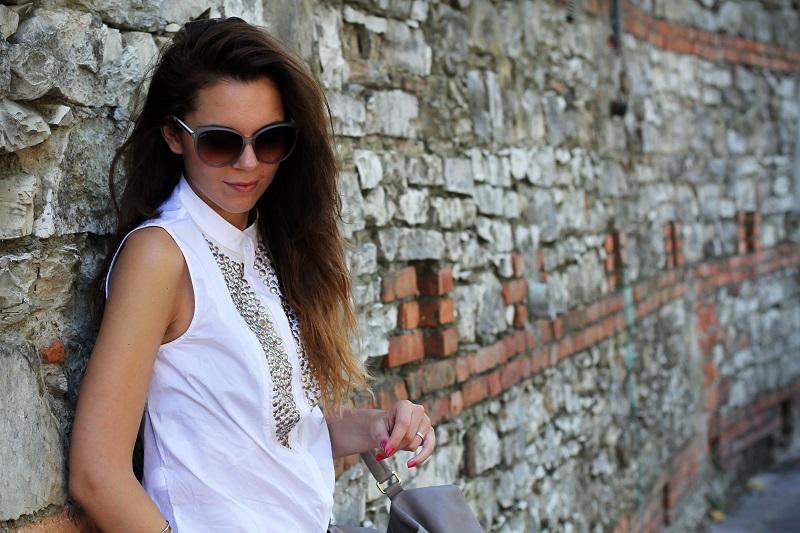 stefanel | camicia borchie | camicia sbracciata | occhiali gucci | shatush