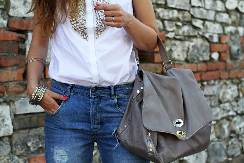 stefanel | camicia borchie | camicia sbracciata