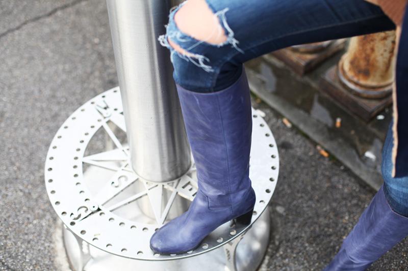 stivali con tacco blu