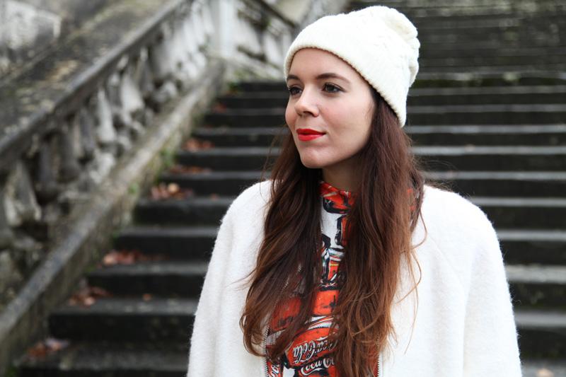 cappellino bianco di lana donna