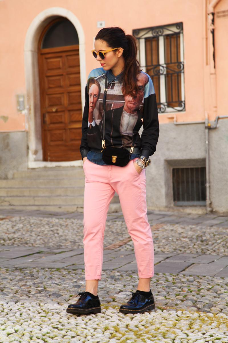 pantaloni boyfriend rosa