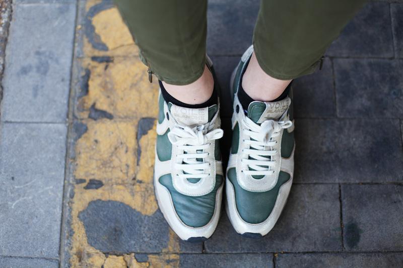 scarpe voile blanche sneakers color militare (1)