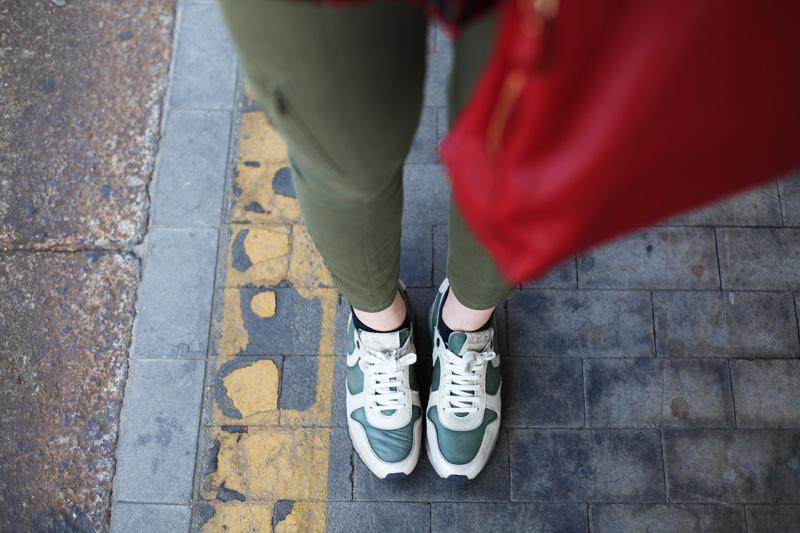 scarpe voile blanche sneakers color militare (2)