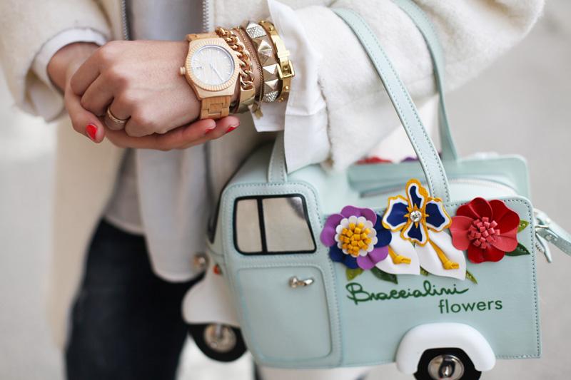 Braccialini borse | orologio in legno