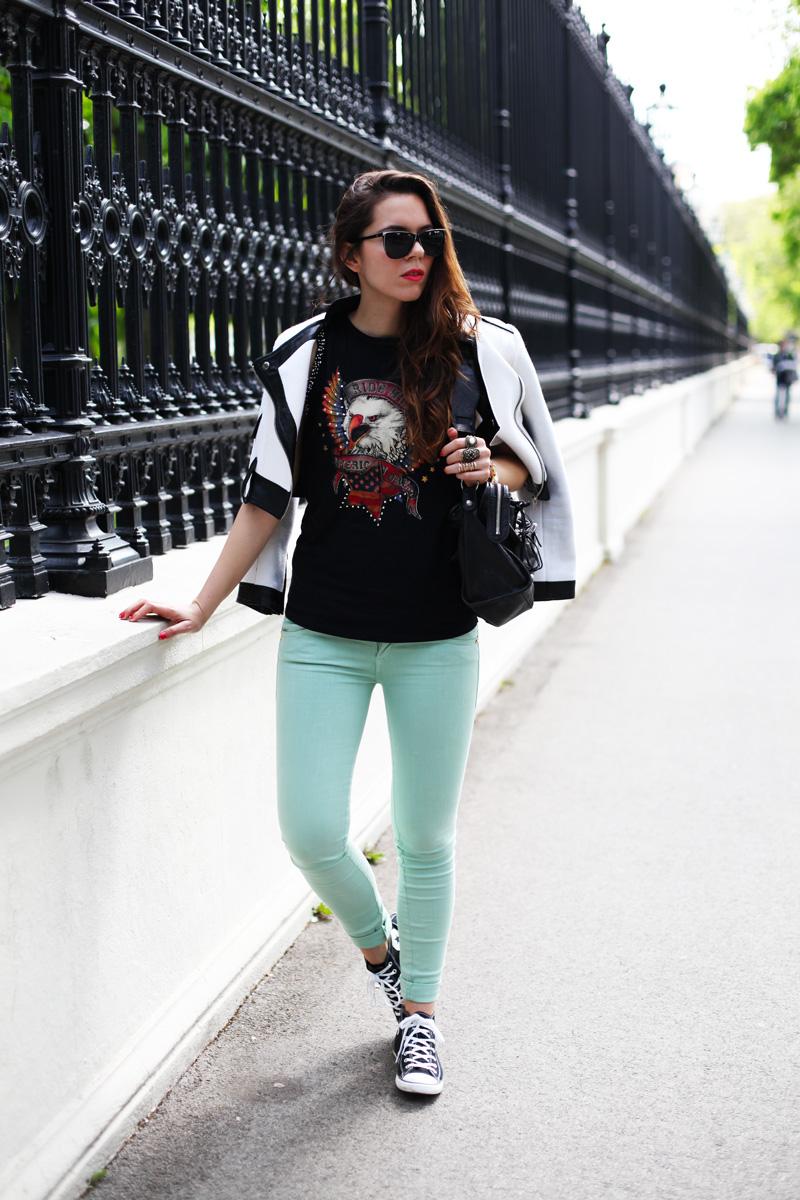giacca bianca |  pantaloni verde menta