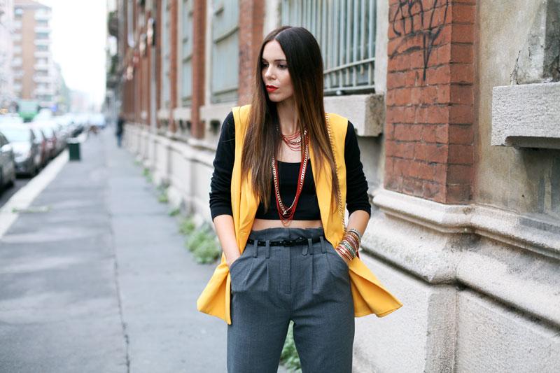 pantaloni a vita alta grigi