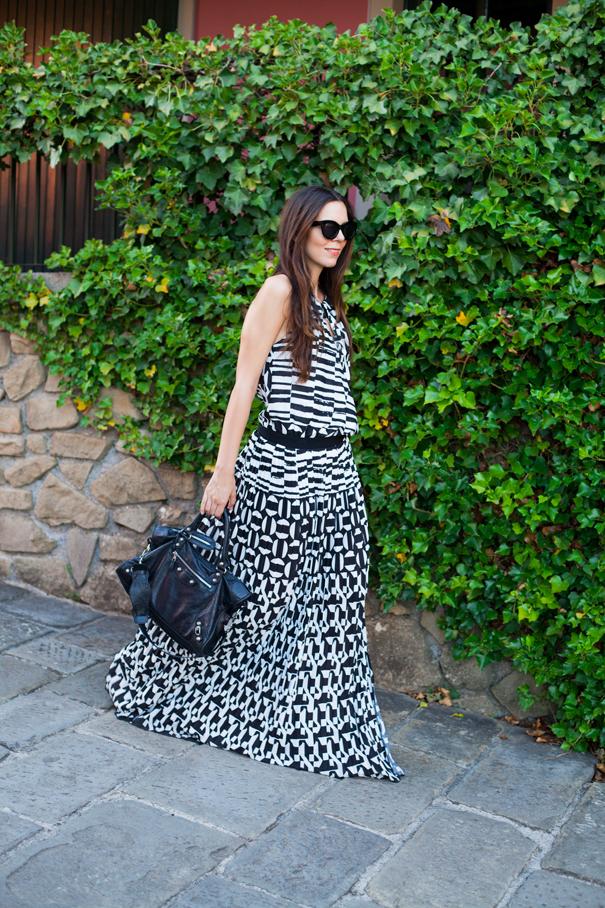 vestito bianco e nero