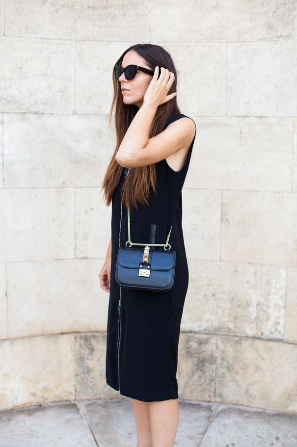 vestito longuette nero